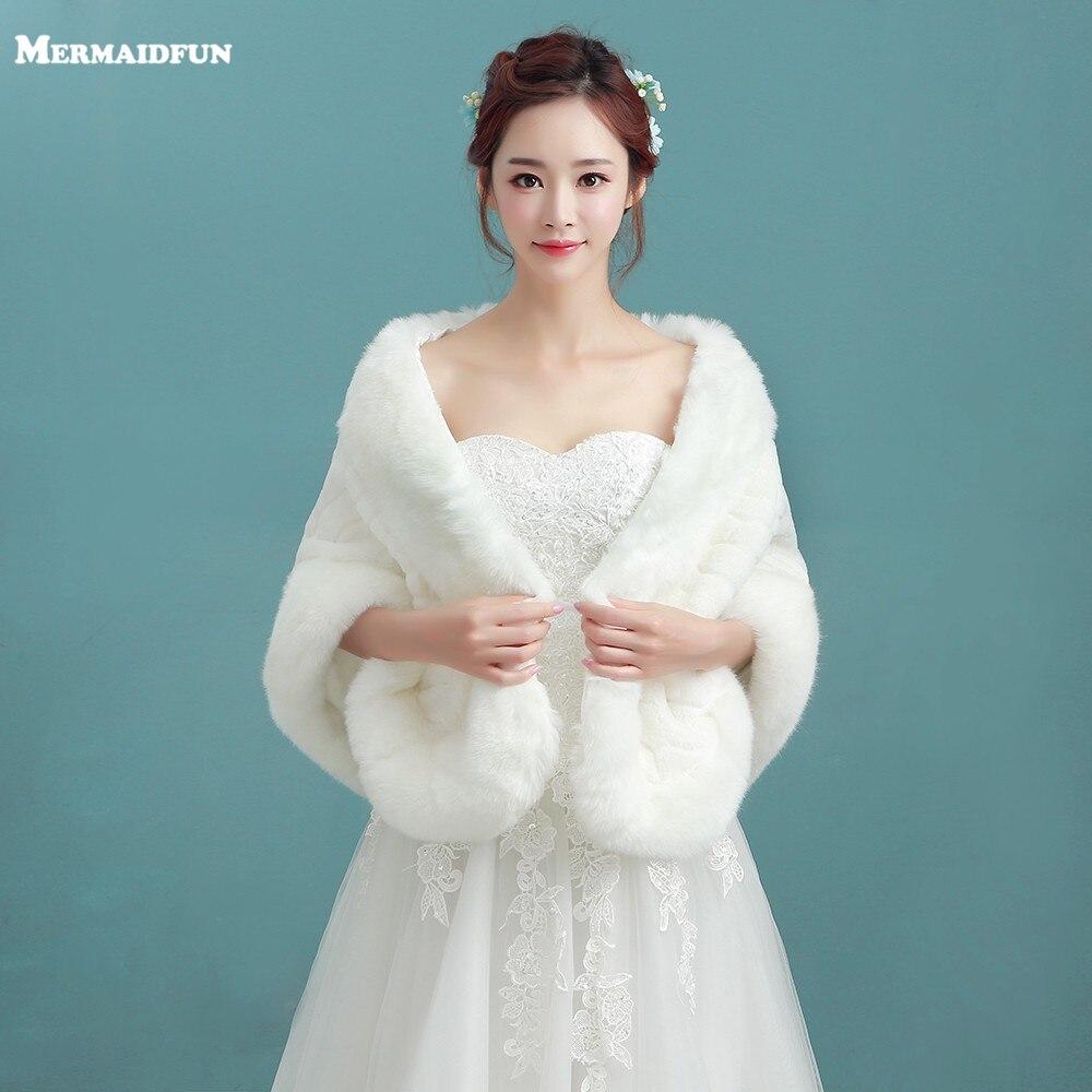 2018 New Arrival Winter Faux Fur Bridal Jacket Warm Boleros ...
