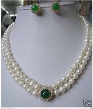 Prett piękne ślubne damskie najszlachetniejszych autentyczne 8-9mm biały naszyjnik z pereł zielony kamień zestaw kolczyków tanie tanio Zestawy biżuterii Moda Party Prett Lovely Women s Wedding Zestawy biżuterii dla nowożeńców TRENDY Pearl Perły słodkowodne