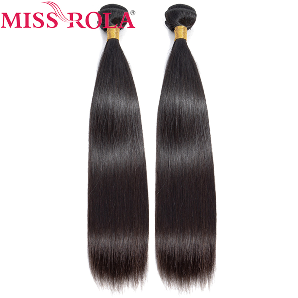 Miss Rola Brazilian Hair Weave Bundles Natural Color 1/2 Bundles Non-Remy 100% Human Hair Extension Straight Hair Bundles