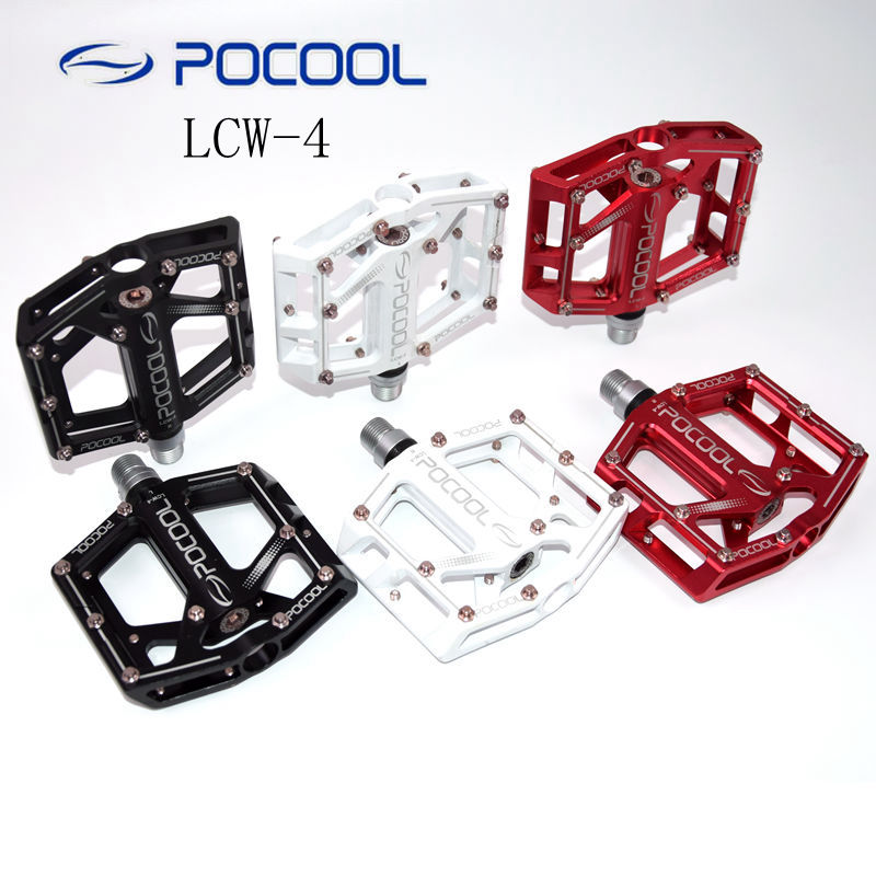 POCOOL LCW-4 aluminium alloy pedal road mountain bike foot pedal sealing double Bearing MTB bicycle pedals стоимость