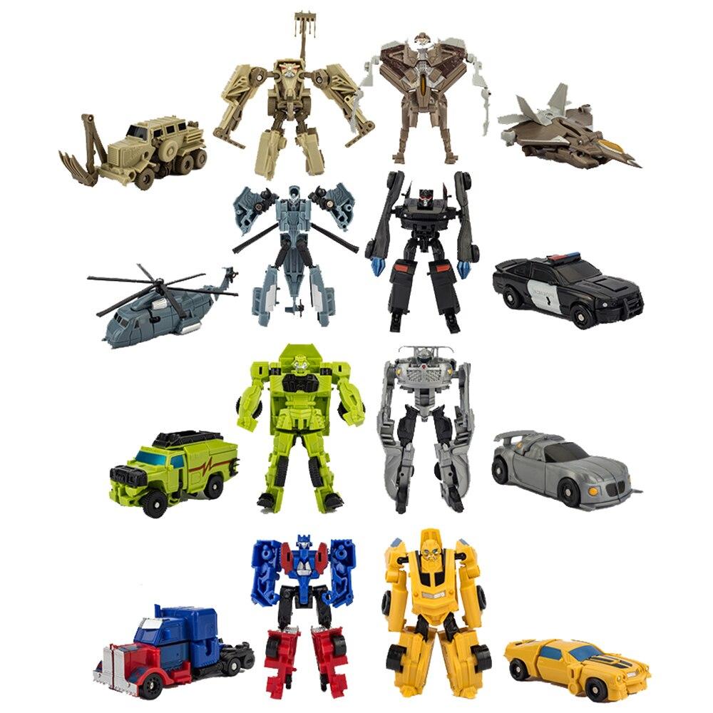 Робот-трансформер 8 см, игрушечная машинка, модель Бамблби, Оптимус, Прайм, пластиковые фигурки из АБС-пластика, Детские обучающие игрушки, п...