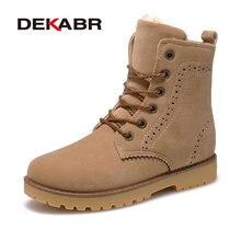DEKABR высококачественные мужские зимние ботинки мужская повседневная зимняя обувь с плюшевой подкладкой мужская зимняя кожаная обувь на меху модные сапоги унисекс размеры 35-44