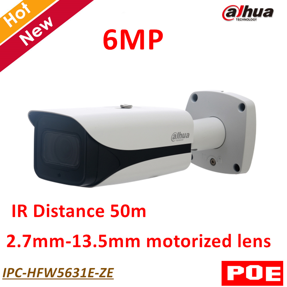 Dahua POE 6MP WDR IR Bullet Network IP Camera 2.7mm-13.5mm motorized lens IR Distance 50 ...