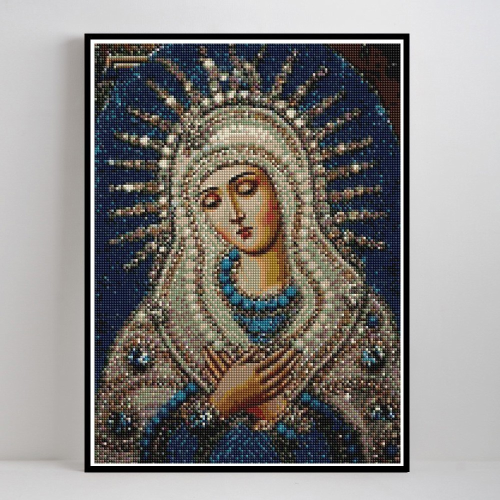 LZAIQIZG Diamond Mosaic Full Drill Square Icon Religion Diamond Painting Virgin Mary Rhinestone Embroidery With Diamonds