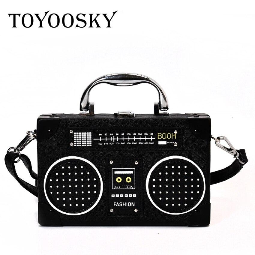 d389c75cddf5 TOYOOSKY personalidad Retro bolsa con forma de Radio bolso de cuero Lindo  bolso de mano de mujer bolso de hombro bolsa de mensajero bolsa de Crossbody  Rock