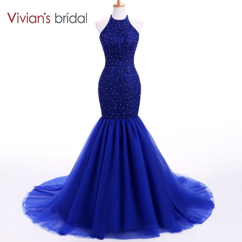Vivian's Bridal Halter Ärmlös Mermaid Evening Dress Lång Beaded Sequin Formell Klänning Aftonklänning