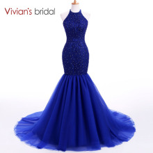 Vivian's Bridal Halter Sleeveless Mermaid Evening Dress
