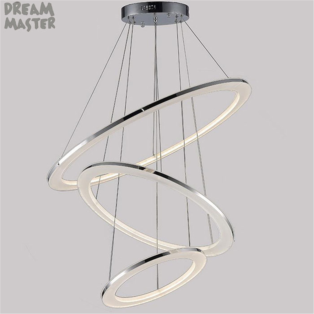 Modern LED Acrylic hanging chandeliers Light Fixture Circle Ring Lustre suspension Lamp led Lighting for living room home