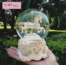 Роза Роман большой светящийся хрустальный шар карусель музыкальная шкатулка музыкальная шкатулка рождения женский Sky City