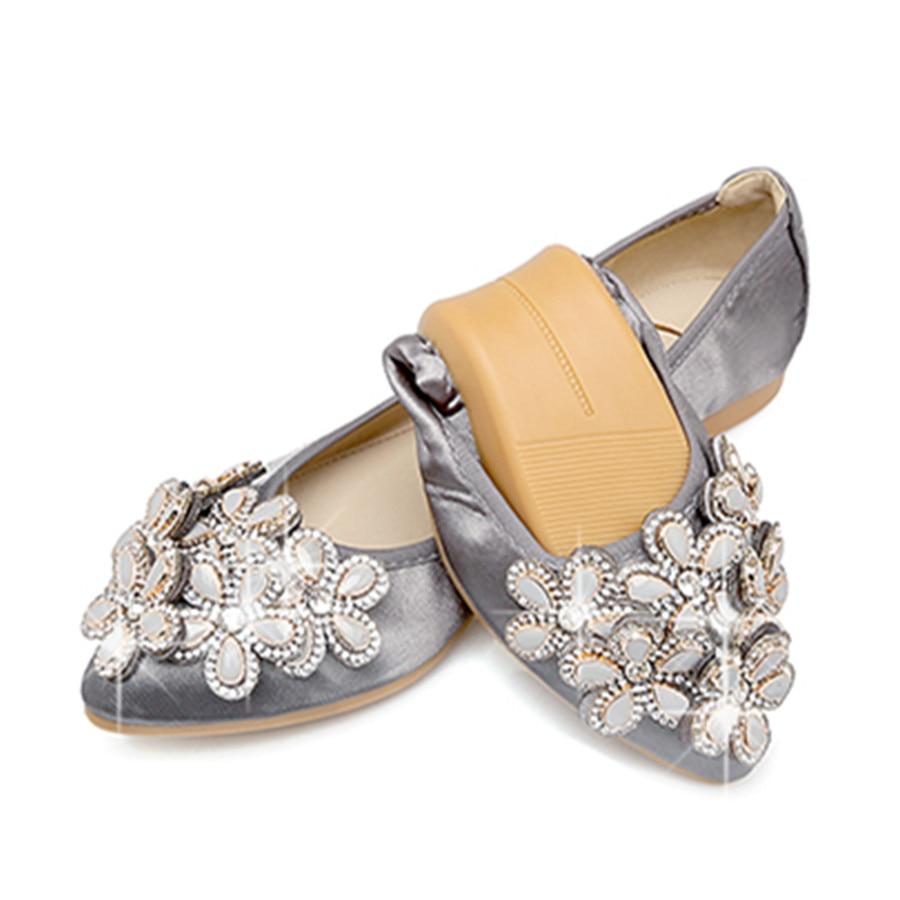 2017 New Women Silk Flower Rhinestone Ballet Flats Shoe Green Gray Pink Slip  on Fashion Pointed Toe Folding Shoe Plus Size 6b30d478f267