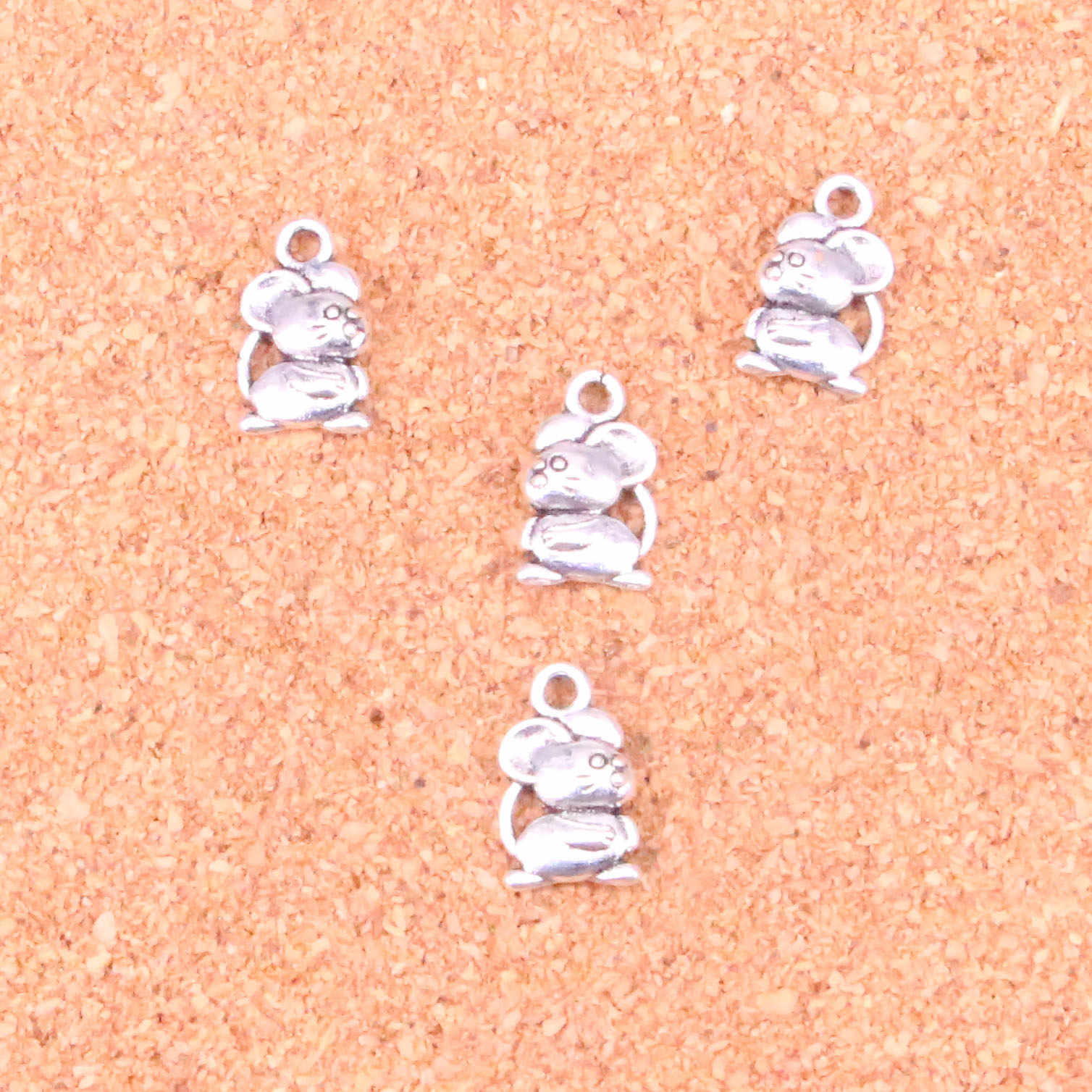 115 pcs Charms zodiac mouse,Antique Making pendant fit,Vintage Tibetan Silver,jewelry DIY bracelet necklace 15*9mm