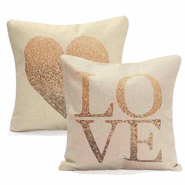 Cotton Linen LOVE Heart Pillow Case 45X45cm Retro Vintage Soft Throw Cushion Waist Cover Sweet Heart