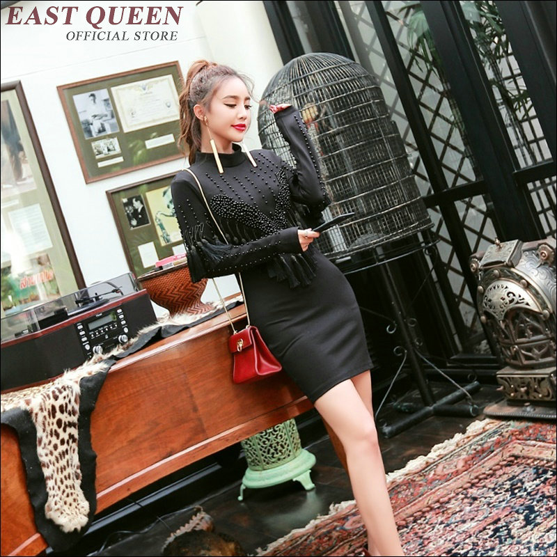 Kk1149 Longues Sexy Bouton A Cheongsam Mini Stand À Automne ligne Col Nouveau Robe 1 Moderne Gland Noir Qipao Manches Avant wZ8UY0qP