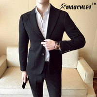 MAUCHLEY Micro Elastic Comfortable Fabric Gentleman Man Suit 2 Piece Set Suits Wedding Dress Vertical Stripes