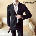 MAUCHLEY Micro-elástico Tecido Confortável Homem Cavalheiro Terno 2 peças/set Ternos de Casamento Vestido de Listras Verticais Único Breasted