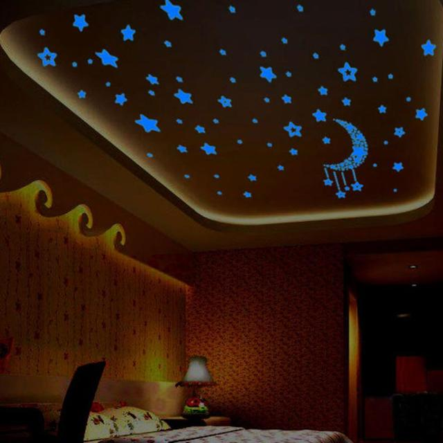 Kids bedroom fluorescent glow dark stars wall stickers plastic luminous star glow stickers fosforlu wallpaper pegatinas15