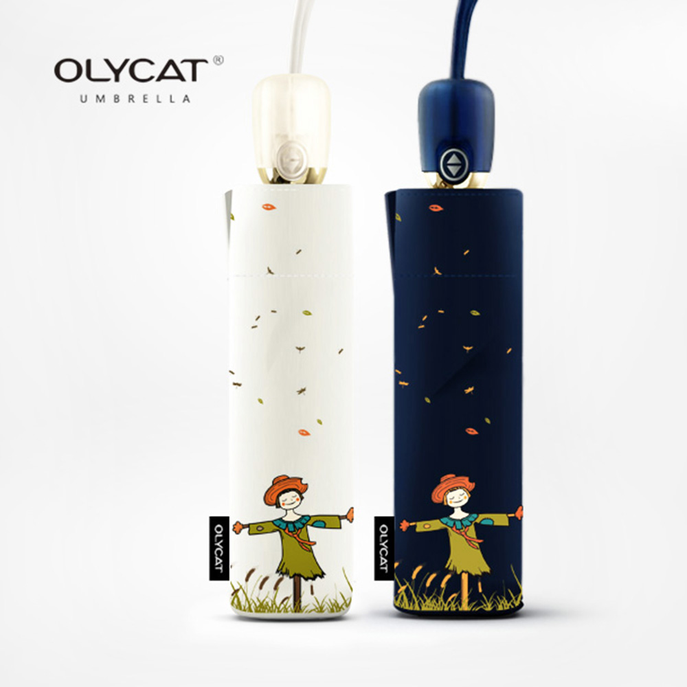 OLYCAT Automatiske Paraply Regn Kvinner Menn Scarecrow Sun Folding Paraply Ladies Anti UV Parasol 8 Ribber Vindtette Golf Paraplyer