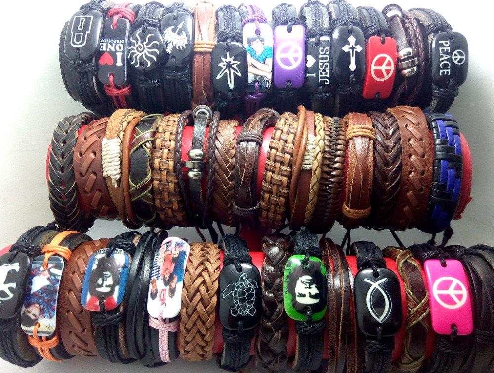 Wholesale 100pcs Mix Leather bracelets Men Women Wristbands Fashion Jewelry lot
