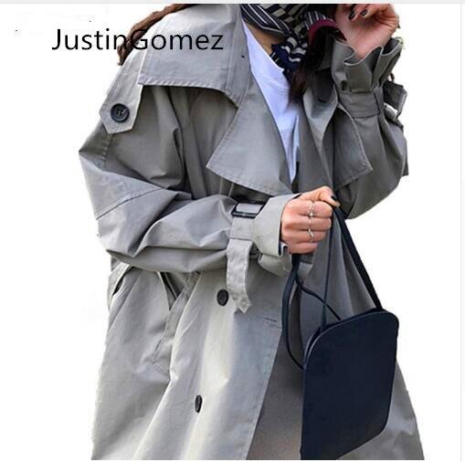 Fashion Women Double Breasted Mid-long Trench Coat with Belts 2019 Famous oversized fall Winter Windbreaker  Outwear
