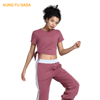 KFDD 2019 Women's Tracksuit Tights Sportswear Fitness Yoga Suit Sport set For Female Gym Clothing Workout Two Piece Crop top