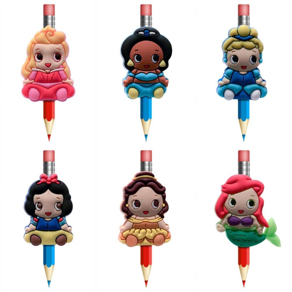 1Pcs Kawaii Baby Princess Pens Topper Straw Charm School Supplies Pencil Holder Pencil Grip Kids Favor Gifts