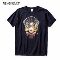 NEWDISCVRY Мужская футболка с принтом 2018 летняя голова портрет креативная модная футболка Повседневная Бабочка узор короткий рукав топы