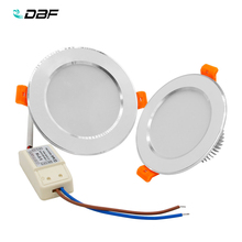 [DBF]New Silver+White LED Recessed Downlight Not Dimmable 5W 7W 10W 12W LED Ceiling Spot Lamp with AC110V 220V LED Driver