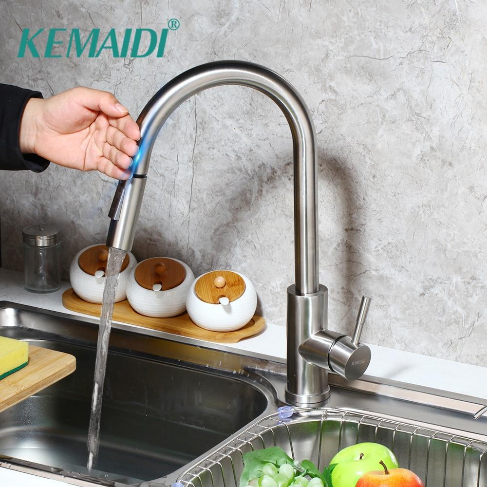 KEMAIDI contrôle tactile robinets de cuisine en acier inoxydable capteur intelligent mélangeur de cuisine robinet tactile cuisine tirer vers le bas évier robinet robinet