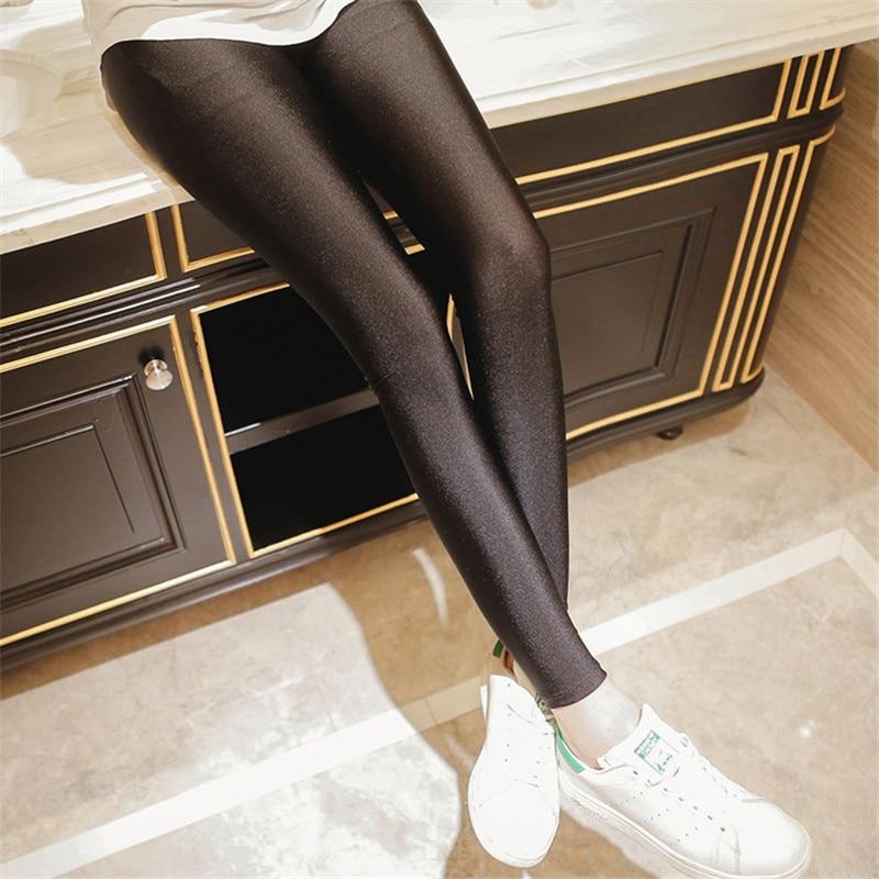 Athleisure Black Color Women Leggings Elastic Leggings Multicolor Shiny Glossy Leggings Trousers Women 95Z