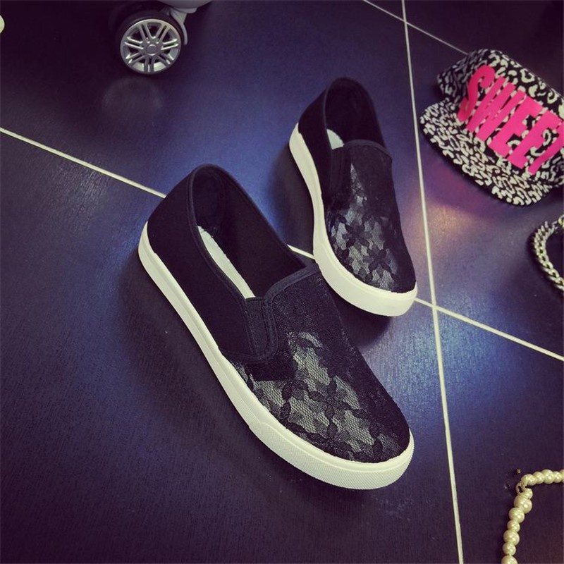2016 Fashion Women Casual Shoes Breathable Summer Female 2 Colors Flats Hollow Out Lace Flowers Plimsolls HSE2 (5)
