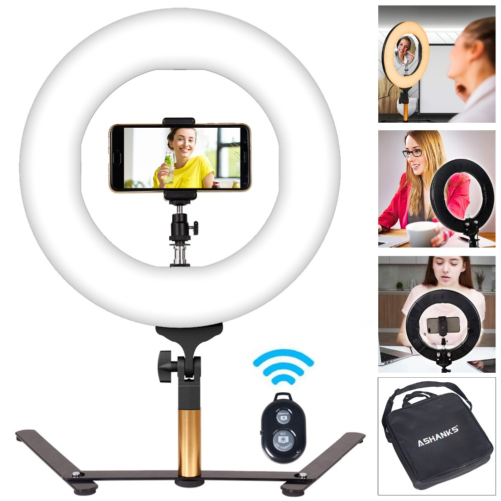 14''40W Stepless Dimmer Photo Studio Photography Tabletop Makeup Ring Light for Phone Video Live LED Lamp with Bluetooth Remote gamecraft remote for outdoor tabletop scoreboard
