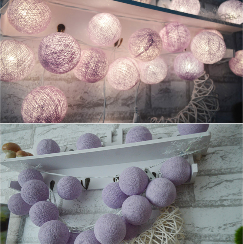 Lavender Light Purple 20pcs/set Cottonball String Lightts, Party Wedding Home Garden Bedroom Decor