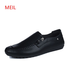 men shoes brand  moccasin loafers leather Flats shoes men chaussures hommes en cuir casual Gommino Driving Slip Shoes 2017 summer new men loafers casual shoes fashion retro slip on flats driving moccasin gommino leather footwear of male h206 35
