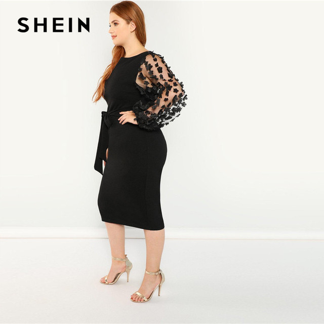 SHEIN Women Plus Size Elegant Black Pencil Dress With Applique Mesh Lantern Sleeve High Street Belted Slim Fit Party Dresses 2