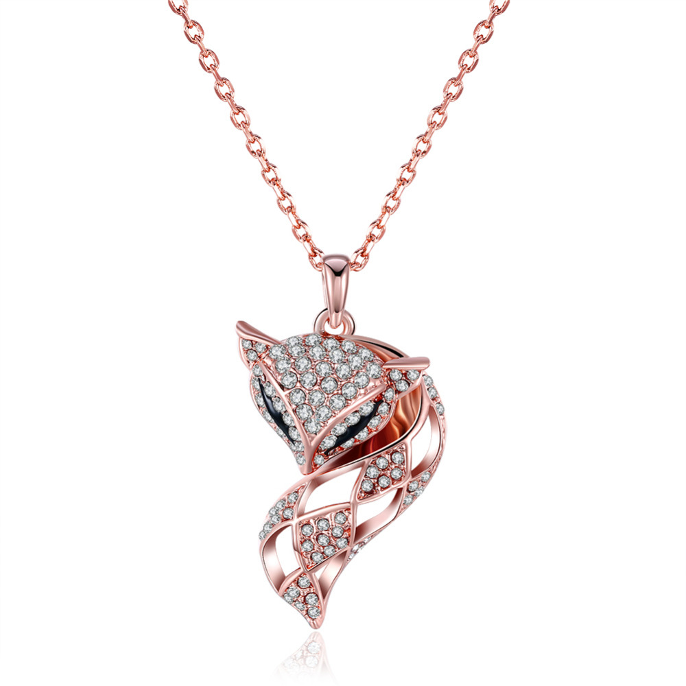 INALIS Fashionable Highly Personalized Cute Fox Shaped Pendant Nacklace With Crystal For Woman Vintage Jewelry Accessories