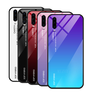 Gradient tempered glass phone case for huawei p30pro back cover for huawei p30 pro p 20 lite 30 light 30pro soft silicone cases(China)