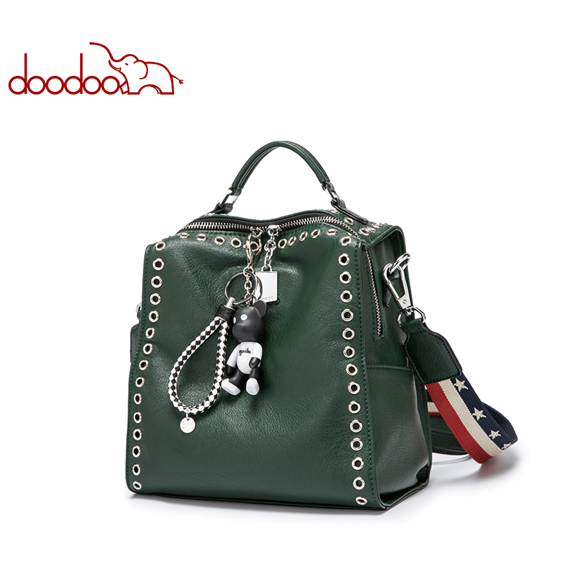 DOODOO Brand Fashion Backpack Women Bag Pu Leather Backpacks Travel Multifunctional Rivet Hollow Newest Bear Ornaments Back Pack doodoo fashion streaks women casual bear backpacks pu leather school bag for girl travel bags mochilas feminina d532