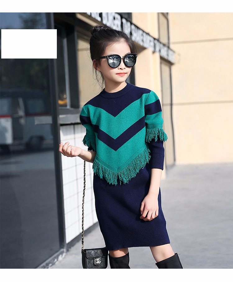 2017 new knitting tassels girls sweater spring autumn winter casual children school clothing preppy style knitted kids sweaters girls dresses 6 7 8 9 10 11 12 13 14 15 16 years old little teenage big girls long sweater dress (10)