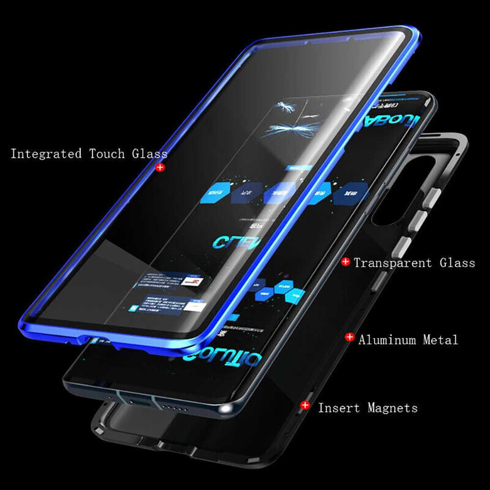 両面ガラス磁気ケース huawei 社 nova 5 プロ 5i 4 3 3i honor 20 プロ 20i 8X Alumium 金属 360 度フルカバーケース