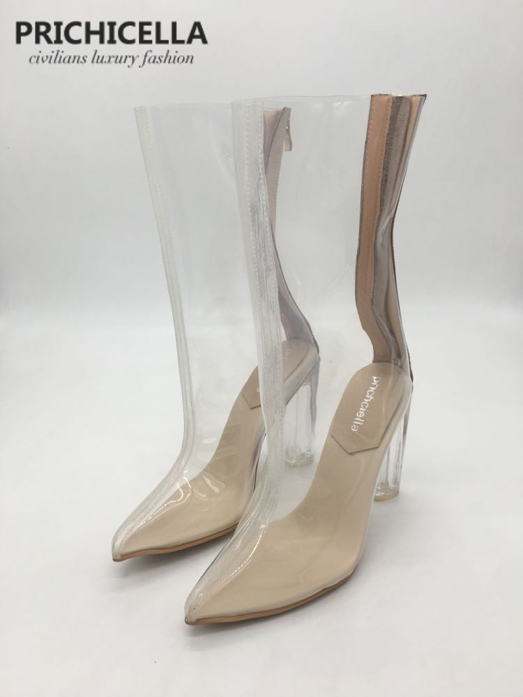 PRICHICELLA Stylish pointed toe chunky heel pvc see through ankle boot transparent booties women s stylish high waist see through dress
