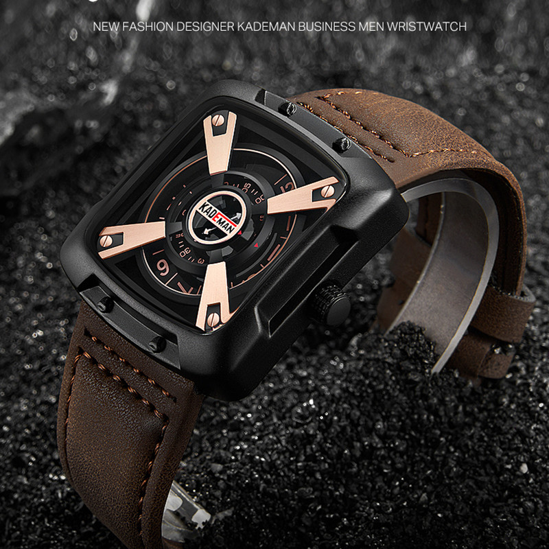 Original Mens Watches Luxury Sports Square Watch TOP Brand KADEMAN 3ATM Casual Leather Wristwatches Business Male Quartz Relogio