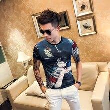 где купить 2019 summer social spirit boy ice silk short-sleeved t-shirt male Slim Korean version of the trend half-sleeved shirt shirt clot по лучшей цене