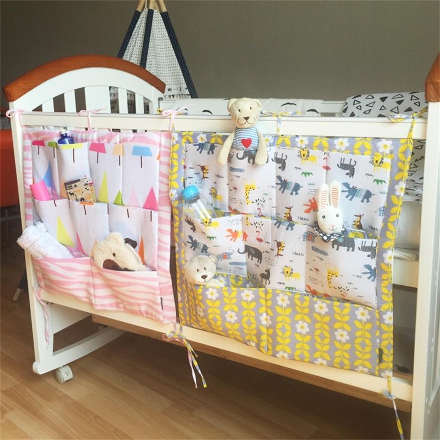 Muslin Tree ბრენდი Baby Cot საწოლი ჩამოკიდებული შესანახი ტომარა Crib ორგანიზატორი 60 * 50cm სათამაშოების Diaper ჯიბე Crib საწოლები კომპლექტი B0003