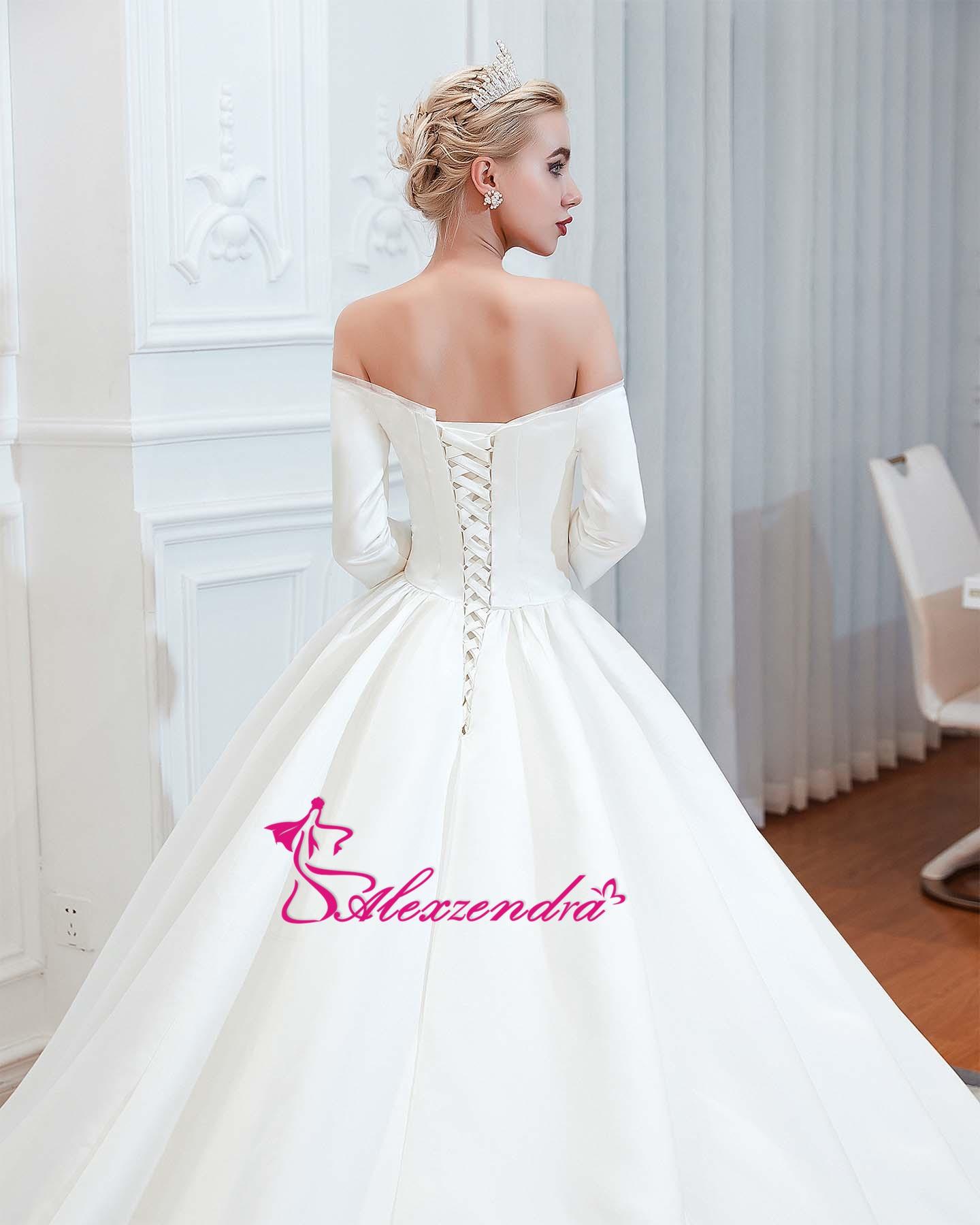 Alexzendra robe de bal en Tulle brillant robes de mariée élégantes pour la mariée perlée ceinture Vintage princesse mariée robes de grande taille - 6