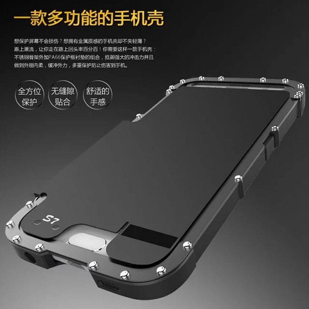 imágenes para Armor King Dropproof Prueba de Golpes de Metal de Acero Inoxidable Al Aire Libre Flip Caso Duro de la Cubierta de Silicona de Nuevo para Samsung Galaxy S7/S7 borde