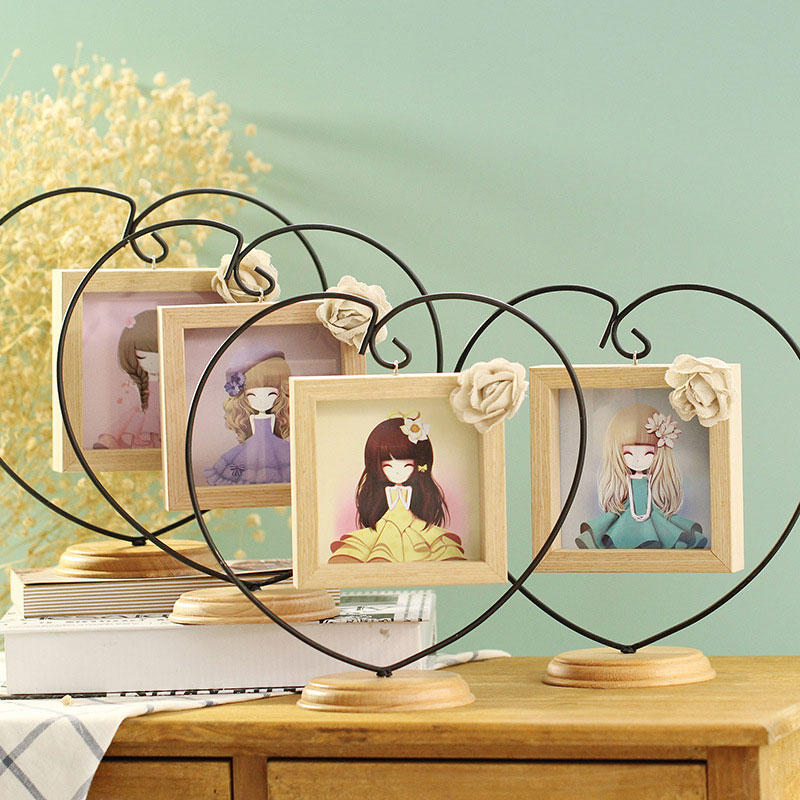 Adeeing Novel Opening Decorative Iron Heart-shape Wooden Picture Frame, Thickening Pine Square Table Photo Frame