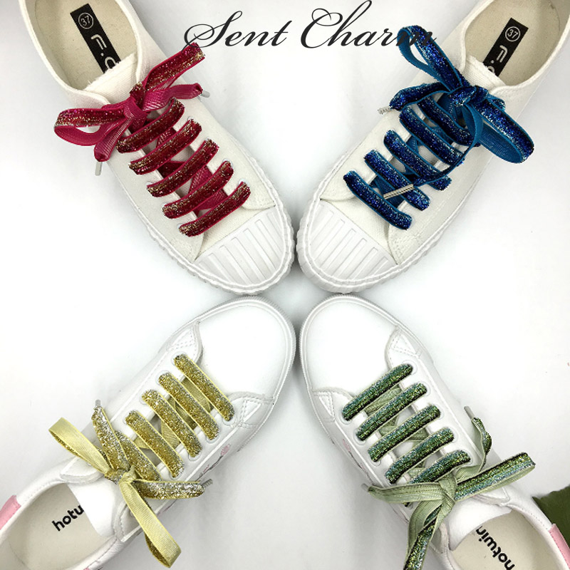 SENTCHARM Shiny New Design Fashion Shoelaces 1cm Width Flat Shoestrings With Metal Aglets For Women's Casual Shoes 5 pairs 1cm width british scotland plover grid style shoelaces canvas shoes sneakers flat shoes lace 70 80 90 100 110 120 130cm