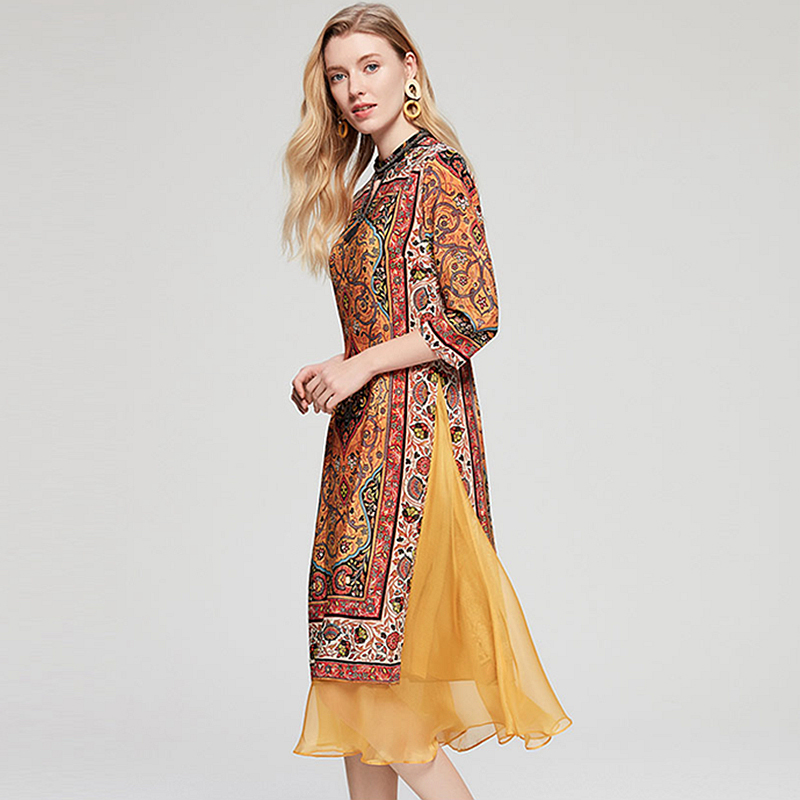 3cfb03c454 100% Silk Dress Women Ethnic Print Beading Hollow O Neck Three quarter  Sleeves Patchwork Hem New Fashion Spring 2018-in Dresses from Women's  Clothing on ...