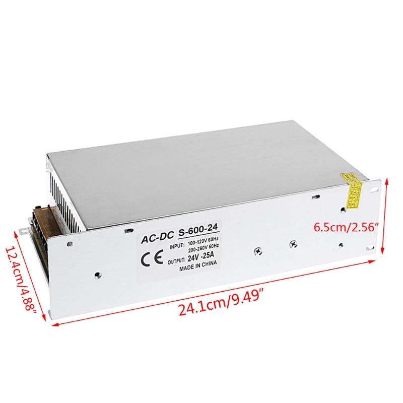 AC 100-260V To DC 24V 25A 600W Switch Power Supply Driver Adapter LED Strip Light W315 4pcs 12v 1a cctv system power dc switch power supply adapter for cctv system