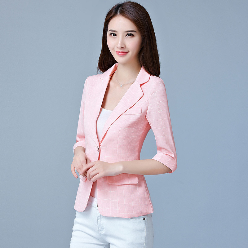 Spring And Autumn Female Short Suit Temperament Seven-Sleeve Sleeve Slim Leisure Suit Plaid Top